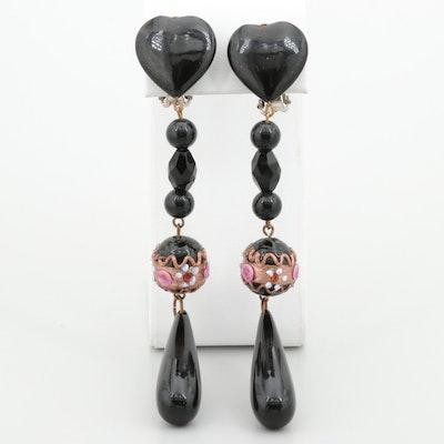 Gold Tone Black Onyx and Glass Dangle Earrings