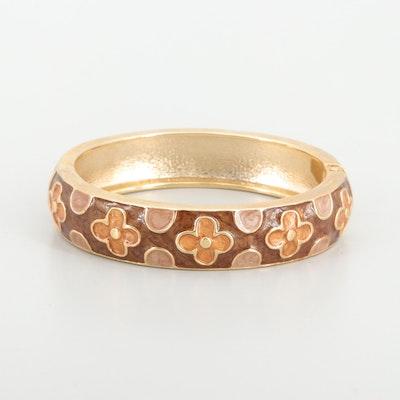 Gold Tone Enamel Hinged Bangle Bracelet