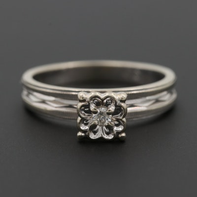 Vintage 14K White Gold Diamond Solitaire Ring with Engraved Details