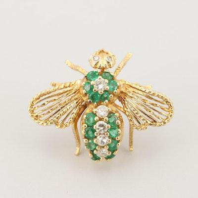 18K Yellow Gold Diamond and Emerald Bee Brooch
