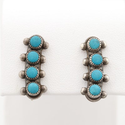 Southwestern Sterling Silver Imitation Turquoise Drop Down Button Earrings