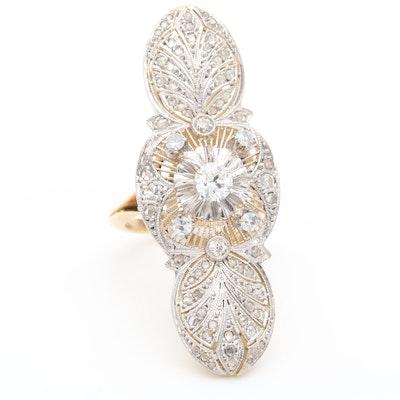 Vintage Platinum and 18K Yellow Gold Diamond Ring