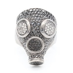 Jason of Beverly Hills 14K Gold 1.50 CTW Diamond and Black Diamond Gas Mask Ring