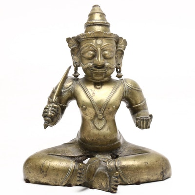 Indian Base Metal Sculptureof Seated Shiva, Early 20th Century