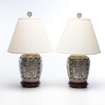 Chinese Rose MedallioPorcelain Ginger Jar Table Lamps, Early to Mid 20th Century
