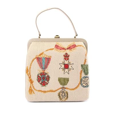 Needlepoint Crown and Medal Motif Shoulder Bag, 1960s Vintage