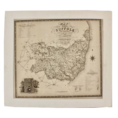 """Josiah Neele Engraving after J & C Greenwood """"Map of the County of Suffolk..."""""""