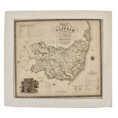 "Josiah Neele Engraving after J & C Greenwood ""Map of the County of Suffolk..."""