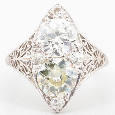 Vintage Platinum and 18K White Gold 2.58 CTW Diamond Ring