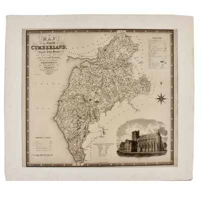 """J. Dower Engraving after C & J Greenwood """"Map of the County of Cumberland..."""""""