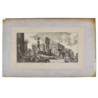 """Giovanni Battista Piranesi Engraving """"Veduto del Campidoglio di fianco"""""""