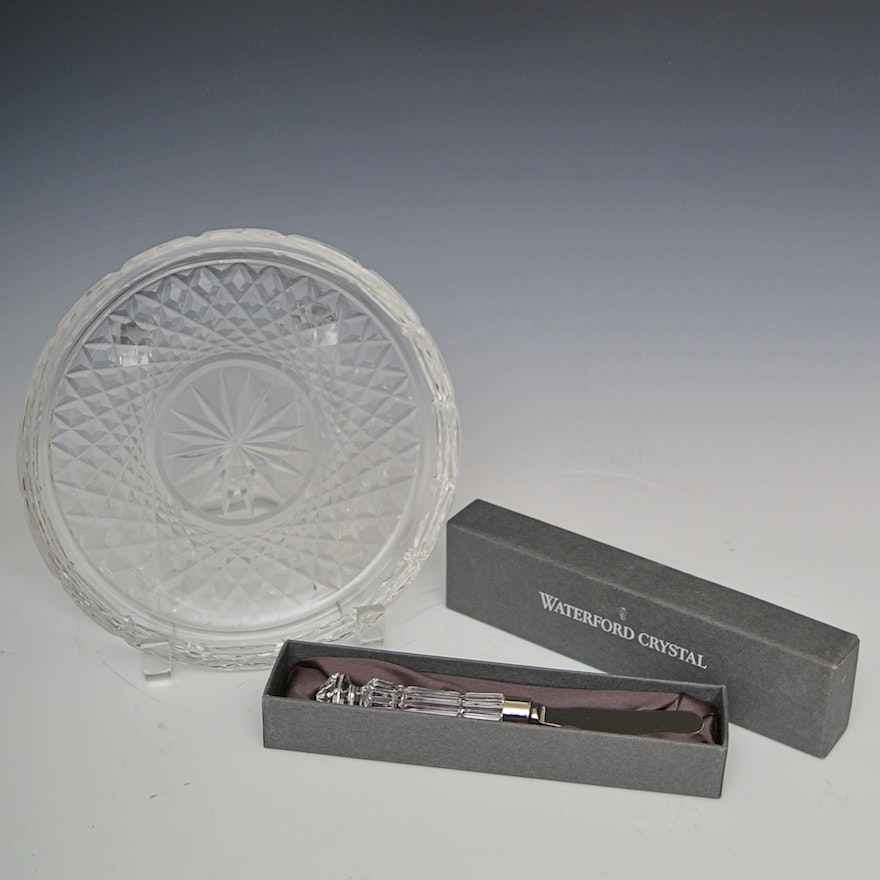 Waterford Crystal Serving Platter and Cheese Knife