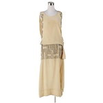 Cream Silk Dress with Silver Lined Glass Beaded Design, Late 1920s Vintage