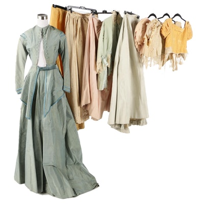 Latimer and Mlle. E. Kehle Silk Dresses in Pastels and Marigold, Late Victorian