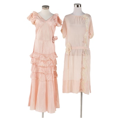 Silk Crepe and Taffeta Occasion Dresses, 1920s-30s Vintage