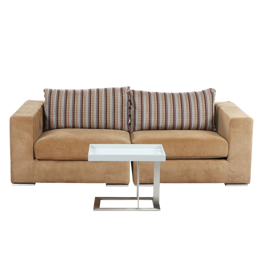 Contemporary Modular Brown Upholstered Sofa With Tray Table