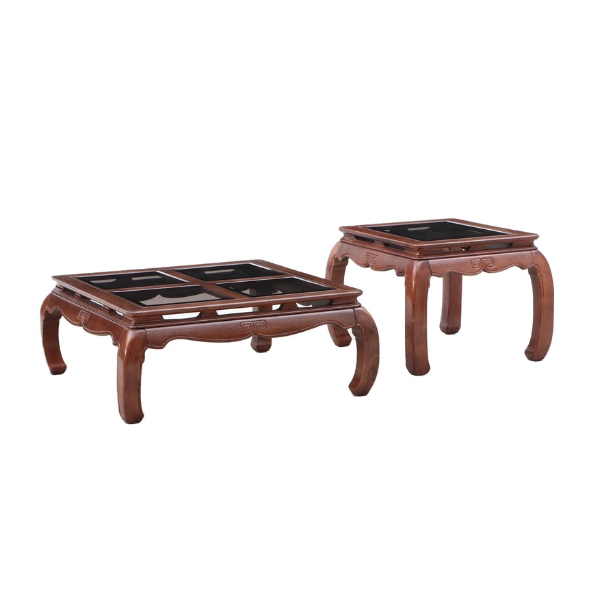 Terrific Chinese Style Glass Top And Wood Low Coffee And Side Table Andrewgaddart Wooden Chair Designs For Living Room Andrewgaddartcom