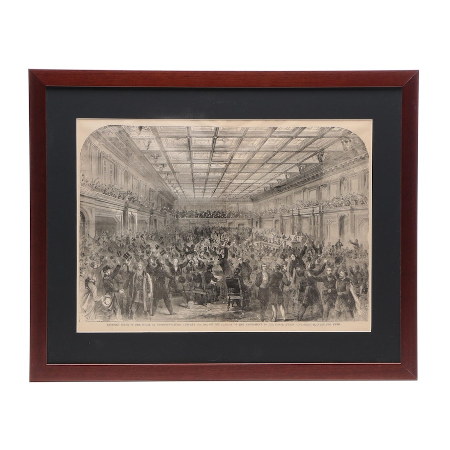1885 Engraving of the Passage of the 13th Amendment, Framed
