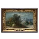 Pastel Landscape Drawing of Mountain Lake