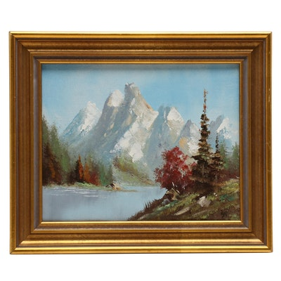 Oil Painting of Mountain Lake Scene