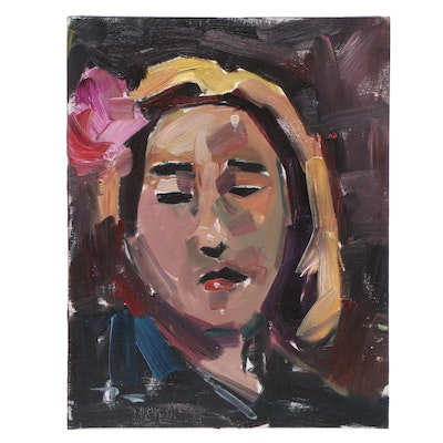 """Jose Trujillo Abstract Portrait Oil Painting """"Pink Flower"""""""