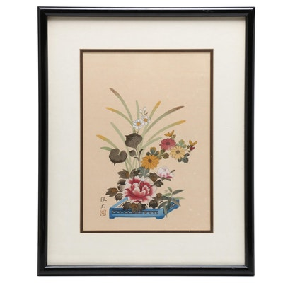 Japanese Gouache and Watercolor Painting of Ikebana Floral Arrangement