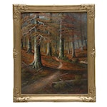 R.O. Smith Oil Painting of Forested Landscape
