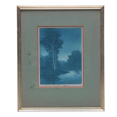 "Edward Timothy Hurley Aquatint Etching ""Memories, Dry Creek"""