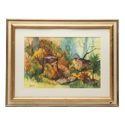 Judge Edward J. Hummer Watercolor Painting of Forest Scene