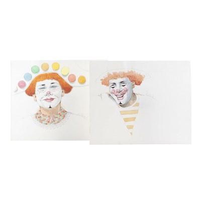Ben Black Watercolor Paintings of Clowns