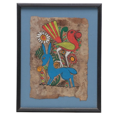 Mexican Folk Art Gouache Painting of Donkey and Bird