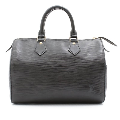 Louis Vuitton Paris Speedy 25 Bag in Black Epi Leather