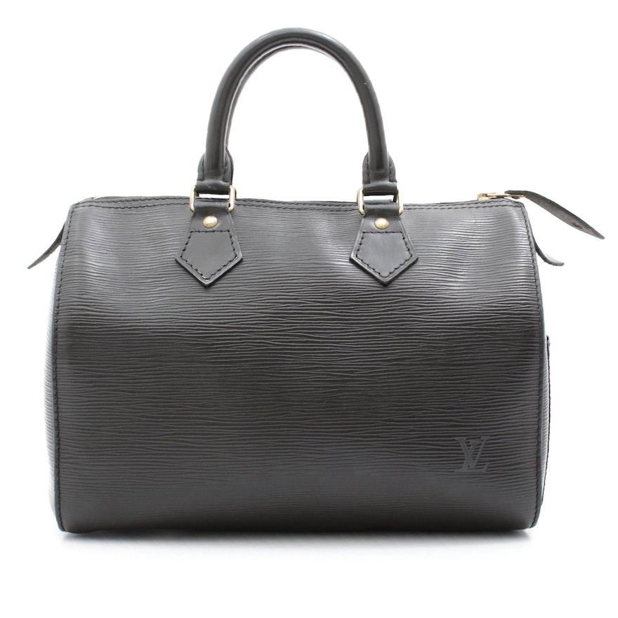 Louis Vuitton Paris Speedy 25 Bag in Black Epi Leather
