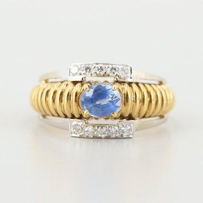18K Yellow and White Gold Blue Sapphire and Diamond Ring