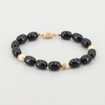 14K Yellow Gold Black Onyx Bracelet