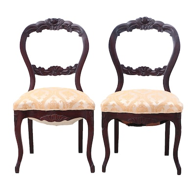 Rococo Revival Style Mahogany Side Chairs, Late 19th Century, Pair