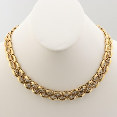 18K Yellow Gold 2.16 CTW Diamond Fancy Link Necklace