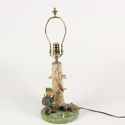 Converted Carved Wood Alpine Hunting Tableau Table Lamp, 20th Century