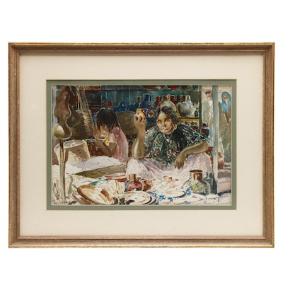 Paul Ashbrook Watercolor Painting of South American Market Scene