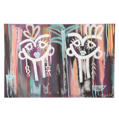 Jordan Howell Abstract Acrylic Painting of Stylized Faces