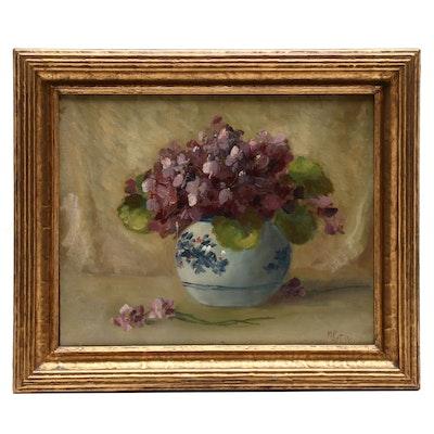 Martin Rettig Floral Still Life Oil Painting of Violets