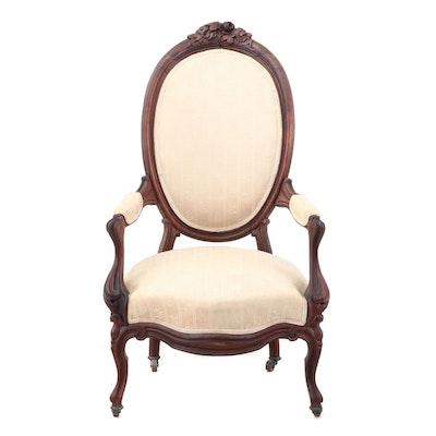 Victorian Era Walnut Armchair, Late 19th Century