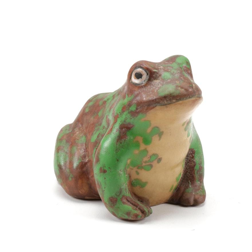 "Weller Pottery ""Coppertone"" Frog Figurine, 1920s"