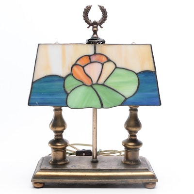 Double Light Slag Glass Style Desk Lamp, Mid to Late 20th Century