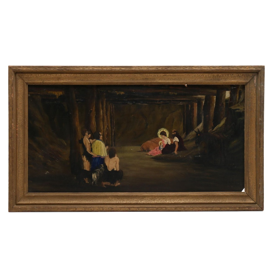 Naive Style Oil Painting of Nativity Scene