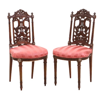 Louis XVI Style Walnut Dining Chairs, Early 20th Century