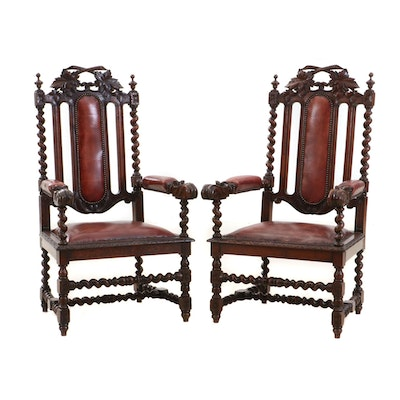 Pair of Renaissance Style Carved Oak Chairs, Circa 1900