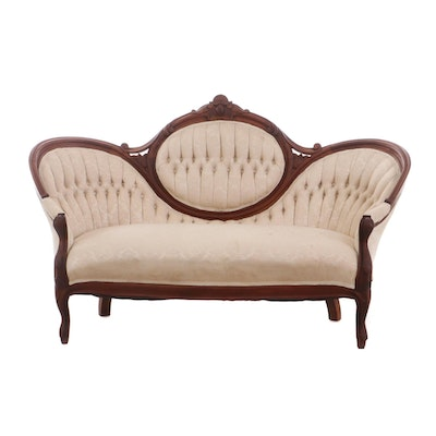 Victorian Rococo Revival Style Walnut Upholstered Sofa, Late 19th Century