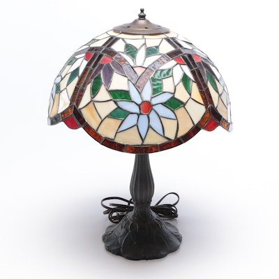 Cast Metal Table Lamp with Floral Resin Shade, Contemporary