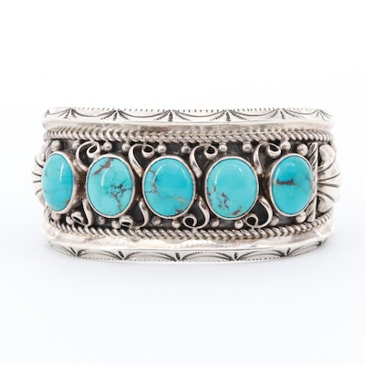 Leonard T. Chee Navajo Diné Sterling Silver Turquoise Cuff Bracelet